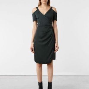 NWT ALL SAINTS Cadia Dress Oil Black Size 4